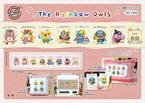 SO-G84 The Rainbow Owls, SODA Cross Stitch Pattern leaflet, authentic Korean cross stitch design chart color printed on coated paper