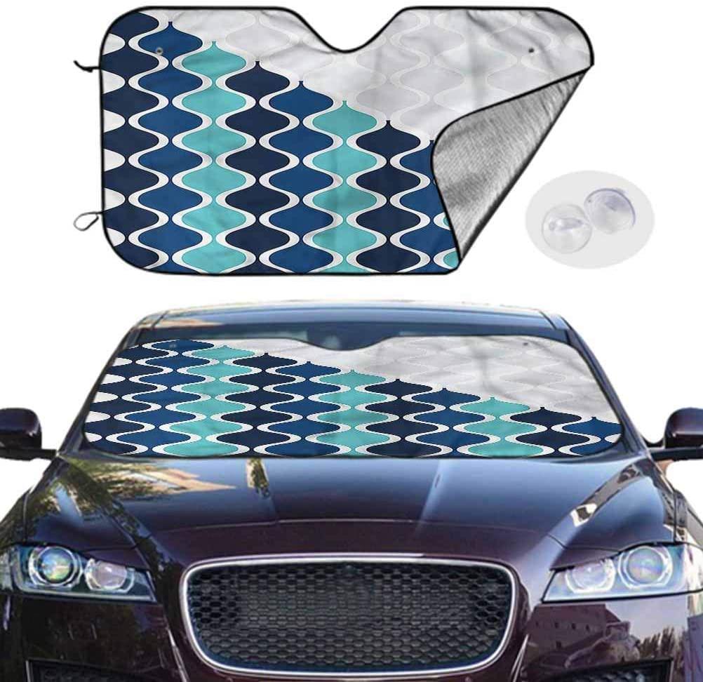 TableCoversHome Car Shade Abstract Portable Car Window Sun Shades Wavy Stripes Spirals, 28 x 50 Inch, Car Accessories