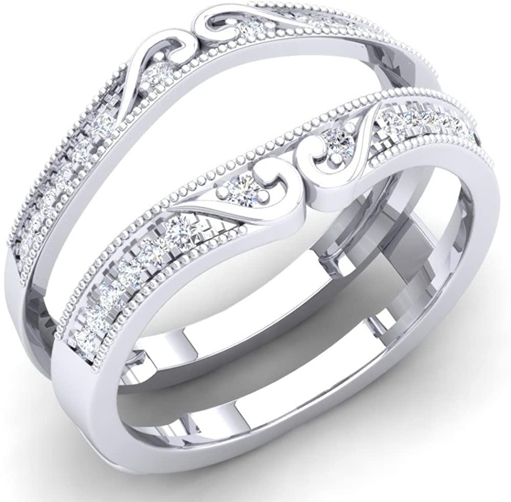 0.25 Carat (Ctw) 14K Gold Round White Diamond Ladies Anniversary Wedding Band Guard Double Ring 1/4 CT