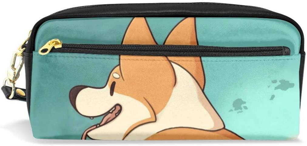 KEIOO Cosmetic Case Organizer Portable Storage Bag with Zipper for Travel Makeup Pencil Case Pen Bag Corgi Butt