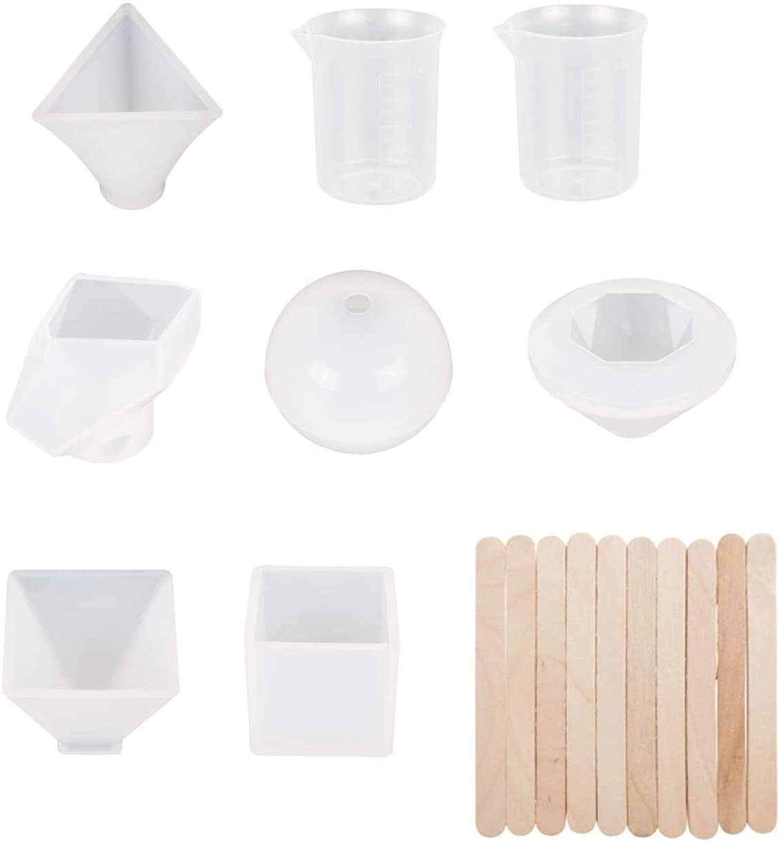 YXMxxm Silicone Resin Molds with 100 Screw Eye Pins for Making Including Pendant,Jewelry,Ashtray,Earring,Cube,Pyramid, Sphere Molds