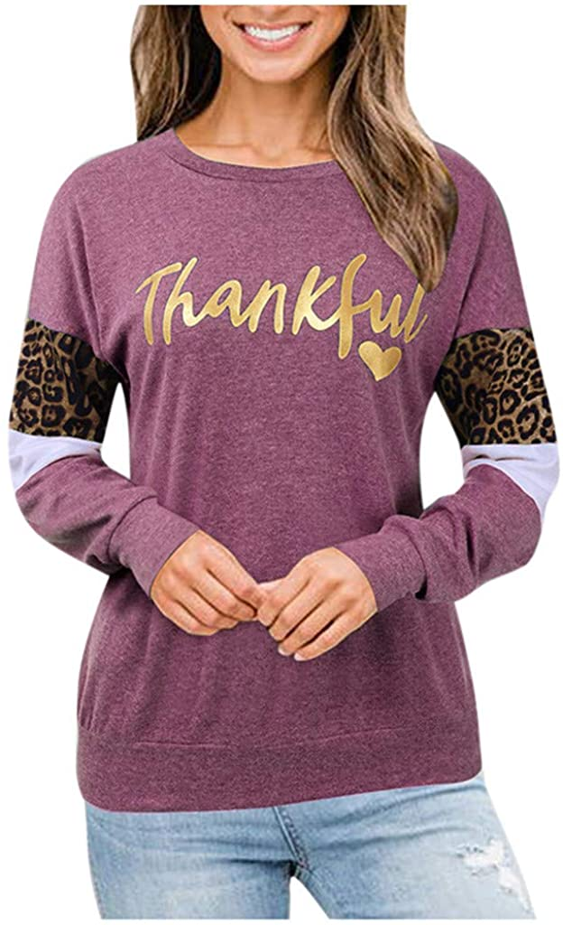 Winsummer Womens Thankful Pullover Shirts Long Sleeve Leopard Splice Sweatshirt Jumper Tops Casual Blouse T-Shirt