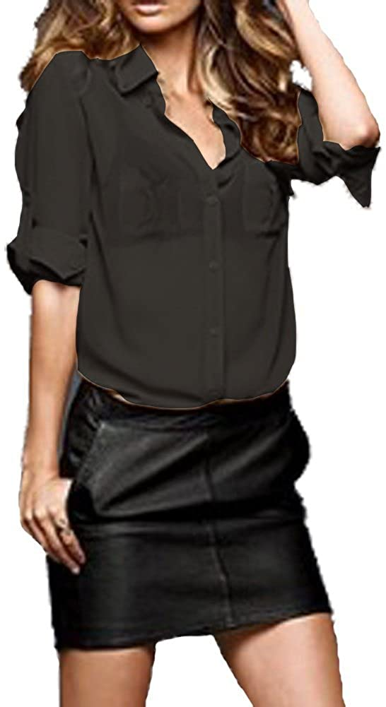 Hollywood Star Fashion Semi Sheer Shirt Long Sleeve Blouse with Roll Sleeves Plus Size