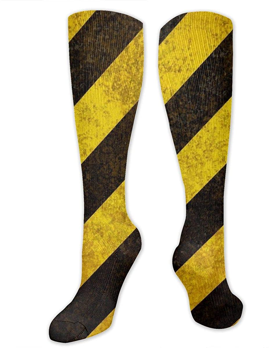 Men Women Knee High Socks Car Road Sign Black Yellow Stripe Long Hose Stockings