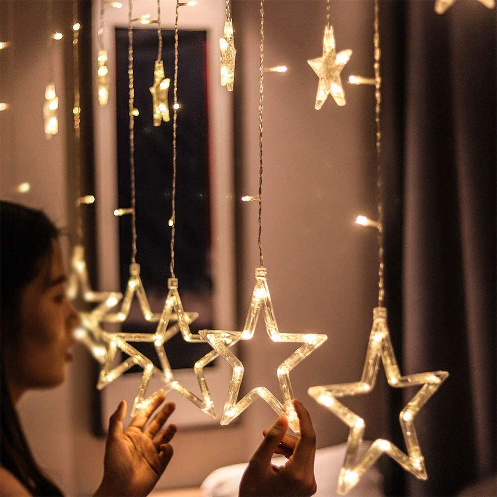 Hongtym Indoor Christmas LED String Lights,12 Stars Window Curtain Lights Decoration for Christmas, Wedding, Bedroom, Party, Birthday, Home Decorations (Warm White)