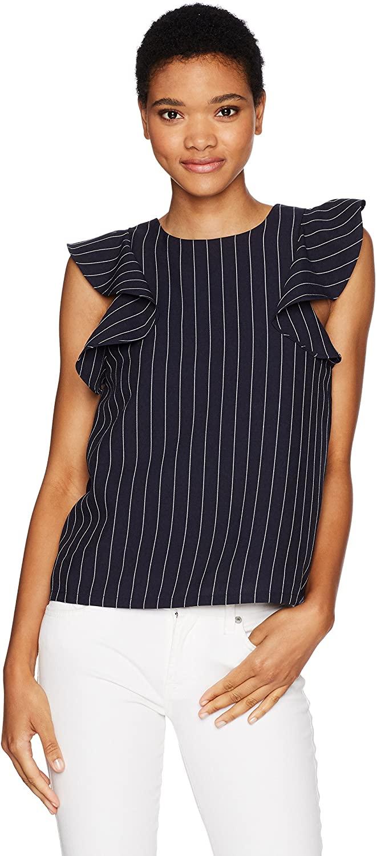 JOA Women's Ruffle Sleeve Stripe Top