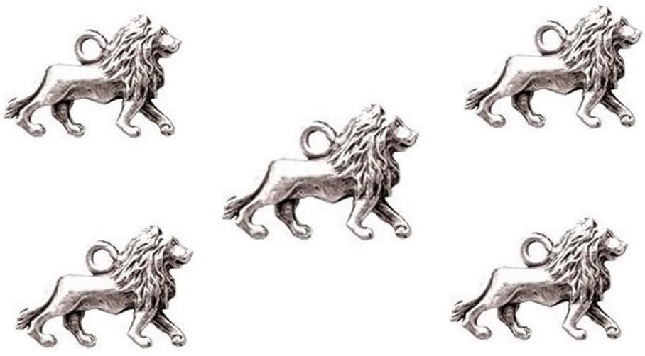PlanetZia 6pcs Magnificent 3D Lion Charms - USA Made - for Jewelry Making TVT-019-1 (Antique Silver)
