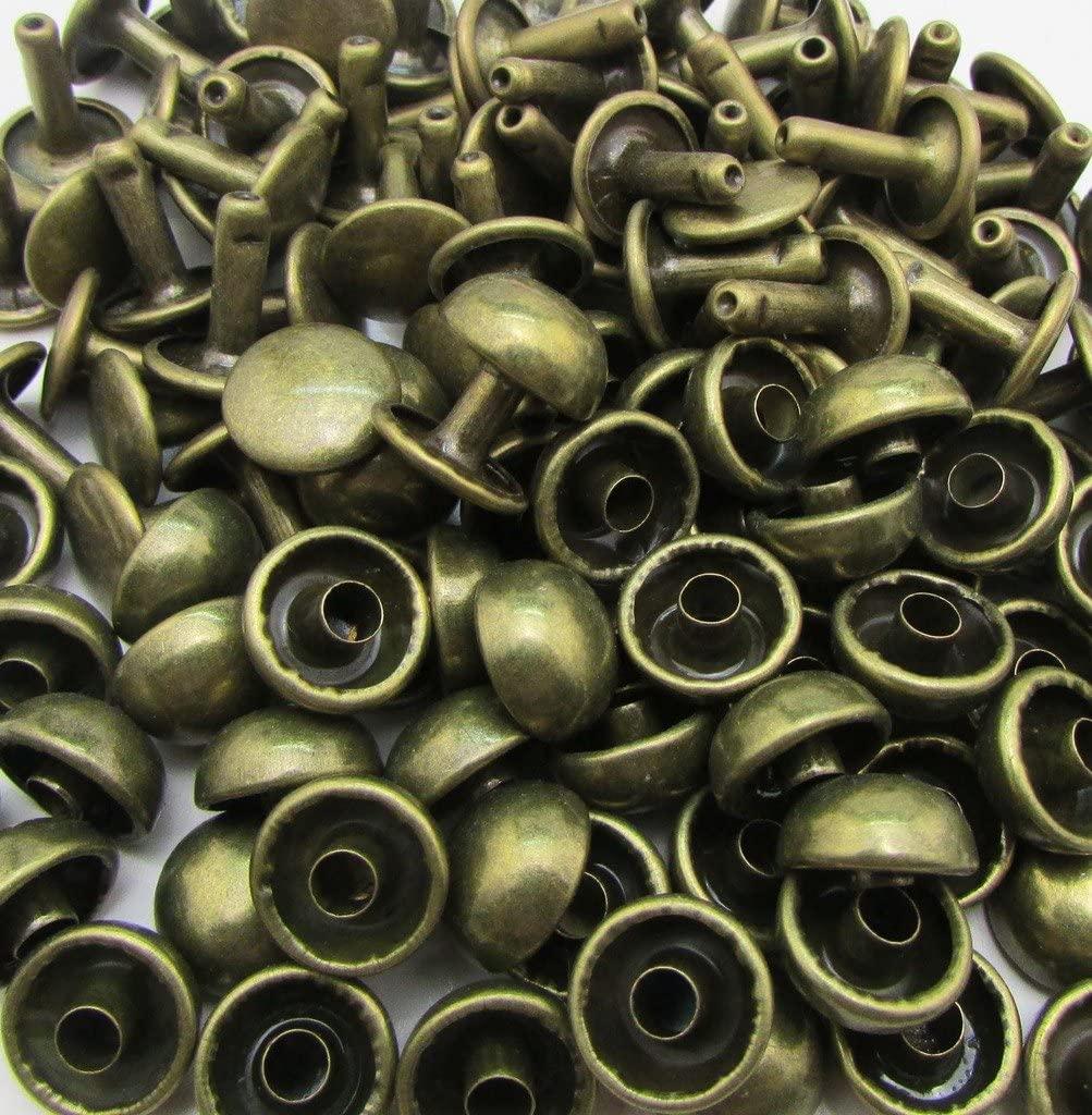 Amanteao Bronze Double Cap Rivets Mushroom Cap 10mm and Post 10mm Pack of 100 Sets