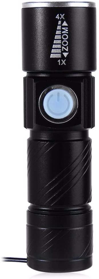 LYXLQ USB Flashlight, Aluminum Alloy LED Flashlight with 3 Mode Lighting High/Low/Strobe Portable Flashlight