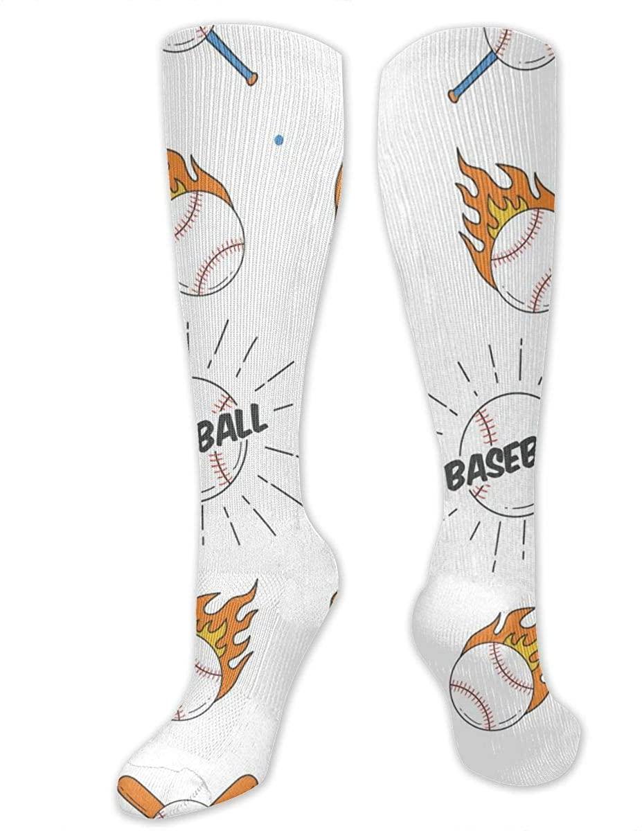 Knee High Sock For Men Women Baseball Bat Ball And Gloves Workout Hose Stockings
