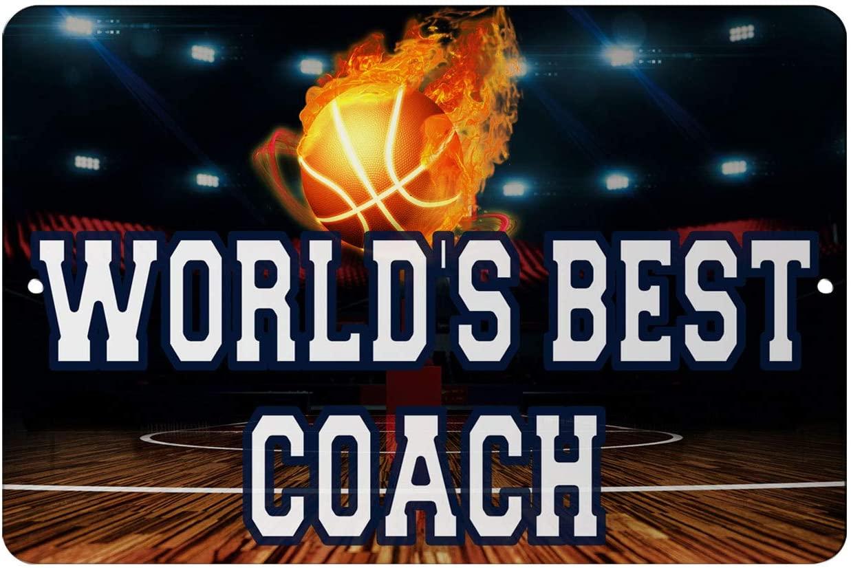 Makoroni - Worlds Best Coach Basketball Sports 12x18 inc Aluminum Decorative Wall Street Sign