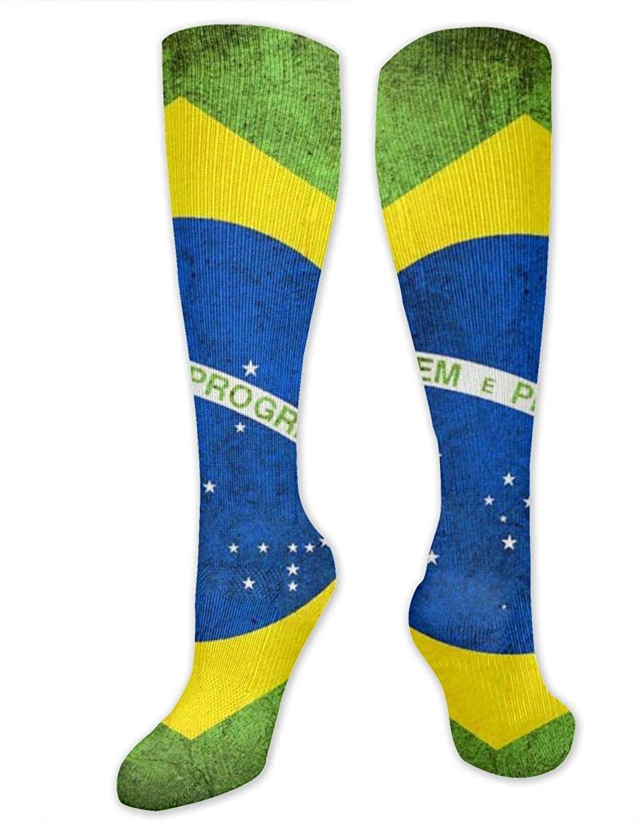 Men Women Knee High Socks Retro Brasil Flag Boot Long Hose Cycling Stockings