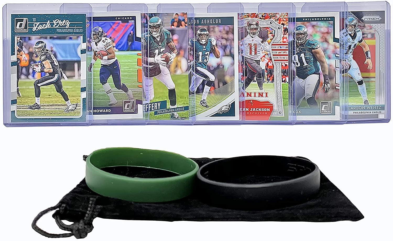 Philadelphia Eagles Cards: Carson Wentz, Alshon Jeffery, Zach Ertz, Jordan Howard, DeSean Jackson, Nelson Agholor, Fletcher Cox ASSORTED Trading Cards and Wristbands Bundle
