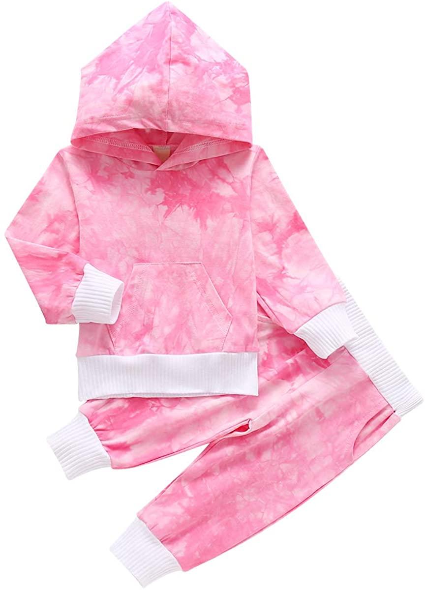 Newborn Baby Girls Clothes Tie Dye Long Sleeve Hoodie Sweatshirt Dye Pants 2Pcs Tracksuit Outfit Set