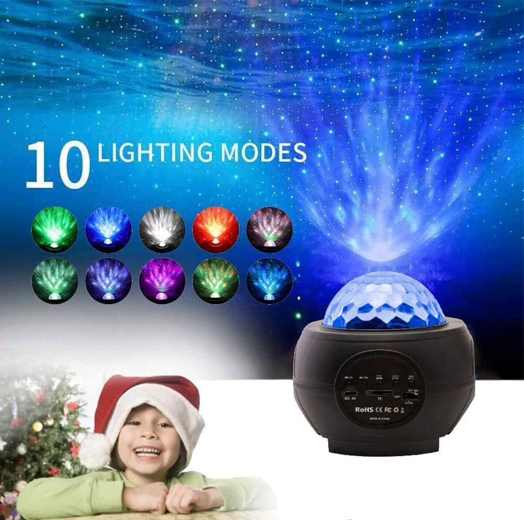 residentD Star Night Light for Kids, Music Starry Projector with 10 Lighting Modes, Bluetooth Music Player, USB Powered Sound-Activated Star Sea Projector for Gifts Decor Party Birthday Wedding