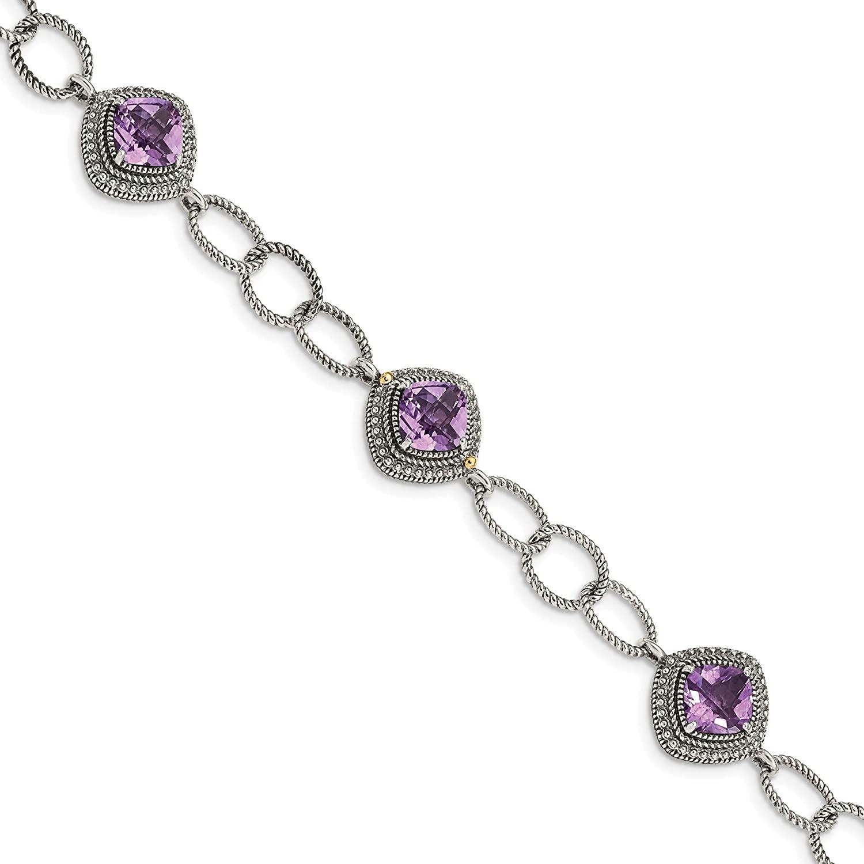 Sterling Silver w/ 14K Accent Amethyst 7.5in Bracelet, 14k/Silver Two-Tone, Length: 7.5 inch