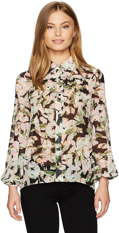ELLEN TRACY Women's Petite Size Shirred Yoke Shirt