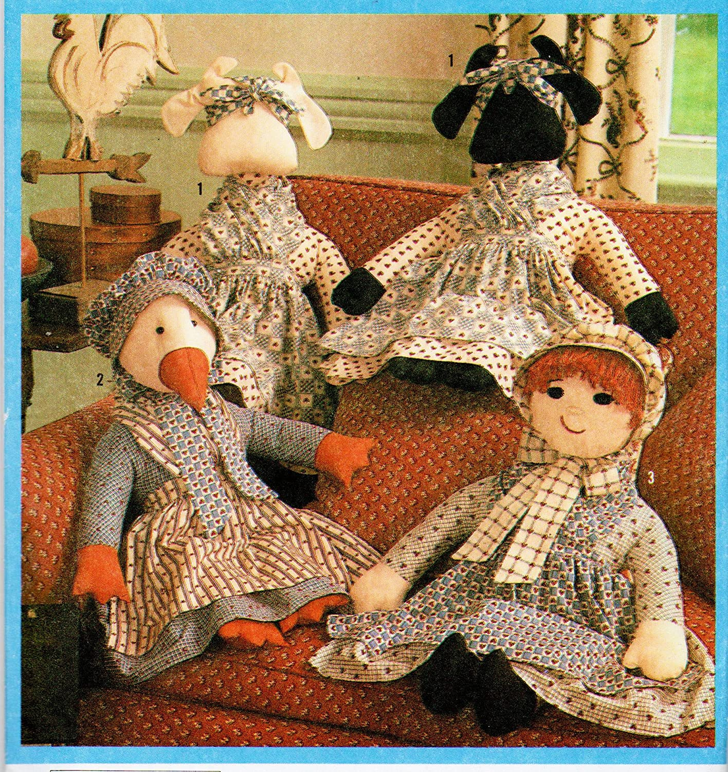 Simplicity 9539 The Country Homespun Collection, Pattern for 3 Dolls with Clothes Sewing Pattern Vintage 1989 Cow, Duck, Doll