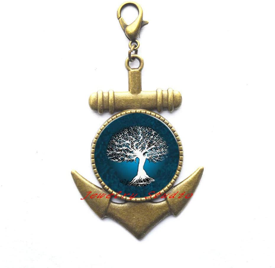 White Life Tree Pattern Lobster Clasp Anchor Zipper Pull Jewelry Women Jewelry Tree of Life Lobster Clasp Anchor Zipper Pull jewelry-HZ0178