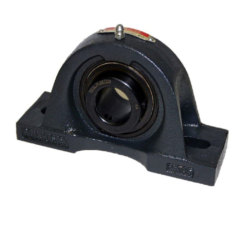 Sealmaster MPD-47 Pillow Block Ball Bearing, Non-Expansion Type, Medium-Duty, Regreasable, Double Setscrew Locking Collars, Felt Seals, Cast Iron Housing, 2-15/16