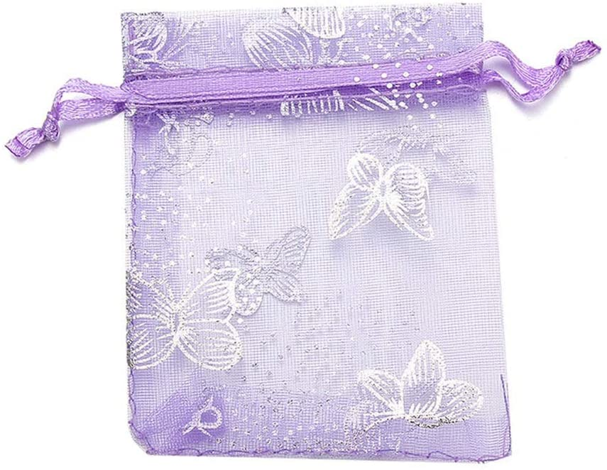 Xihouxian -10 Pcs Bags Bags, Christmas Decorations, Well-Made Jewelry, Gift Bags, Storage Organize Bags, Empty Sachets Small Pouch Gift Bag and Tissue (Color : Purple, Size : 9cm)