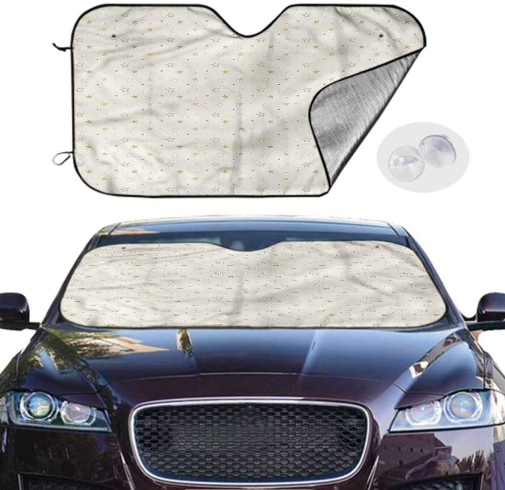 TableCoversHome Car Shade Cream Portable Car Window Sun Shades Space Theme Stars Universe, 28 x 50 Inch, Car Accessories