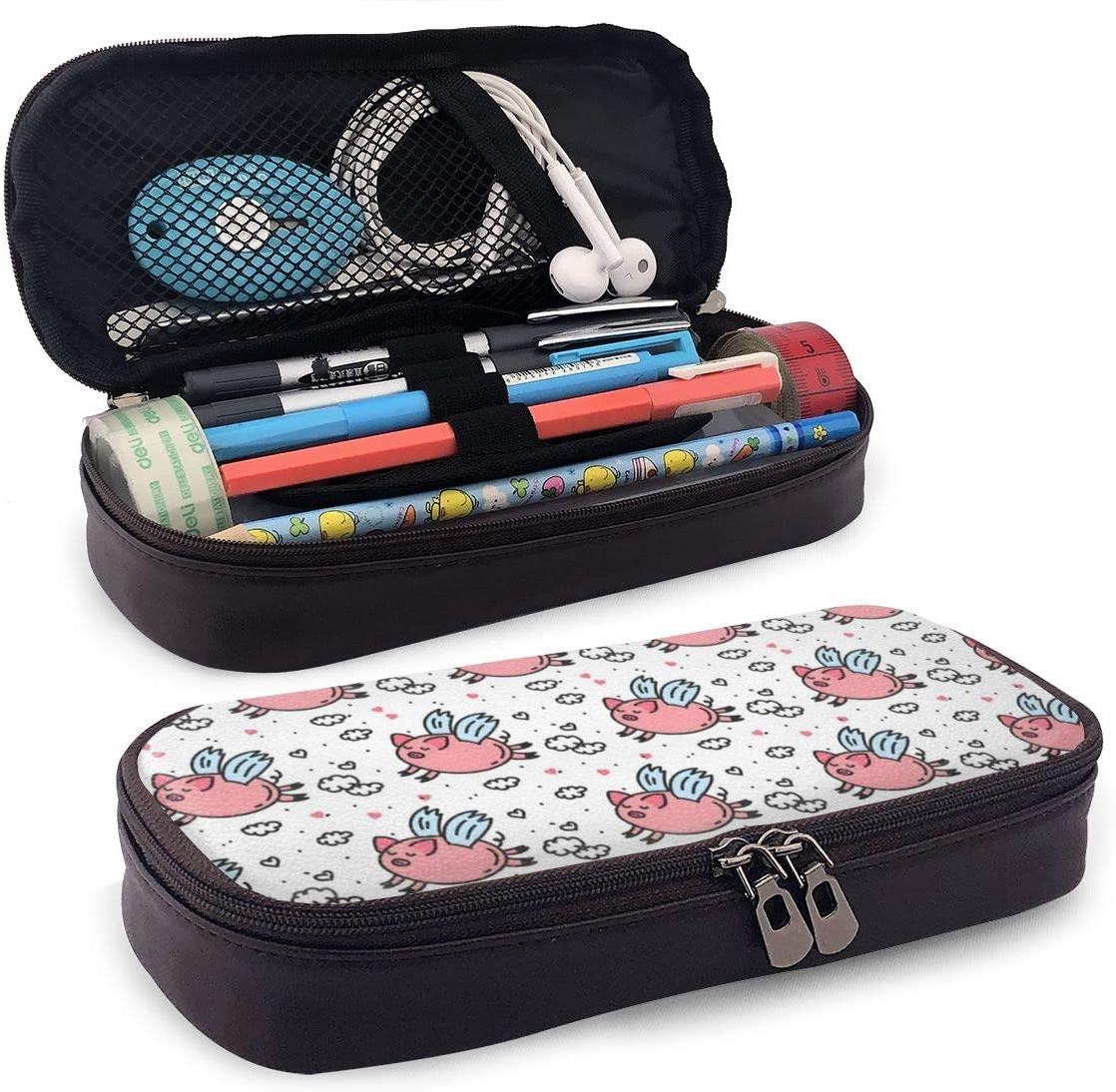Flying Pigs Pattern. Big Capacity Double Zipper Storage Pouch Organizer Bag
