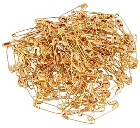 Clips Metal Fastening Tool Safety Pins - (Color: Gold)