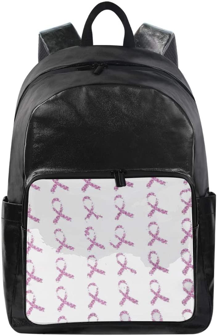 Women/Men Canvas Backpack Breast Cancer Awareness Pink Ribbon Bookbag College School Shoulder Bag Travel Rucks