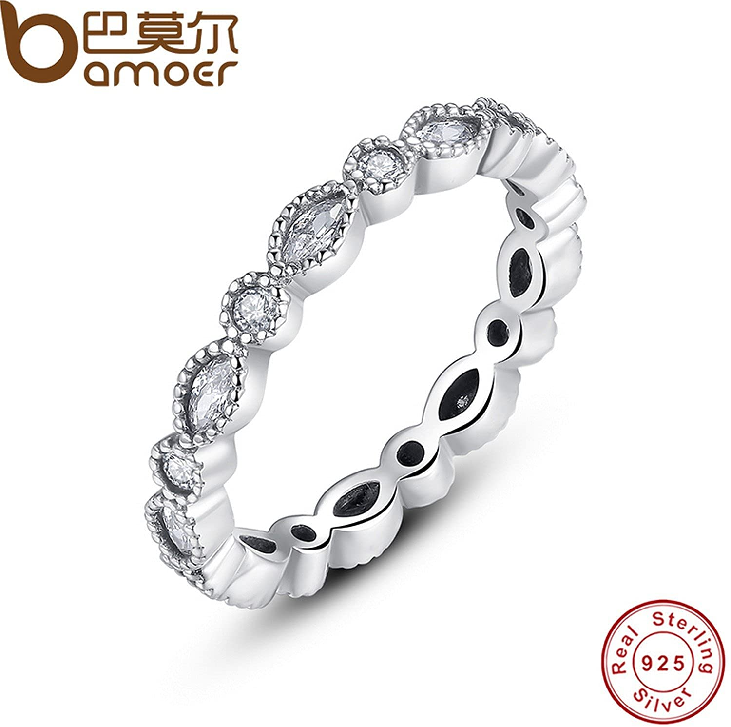 Slyq Jewelry 925 Sterling Silver Alluring Brilliant Marquise Stackable Finger Ring with Clear CZ Original