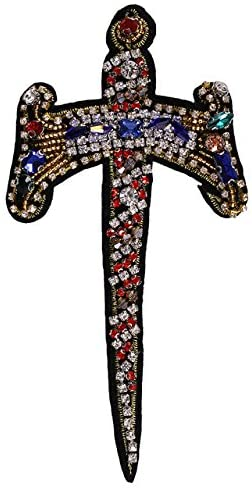 1pieces Handmade Beaded Cross Rhinestones Crystal Sword Design Patches Badge Applique Clothing Decorated Sewing Supplies TH576