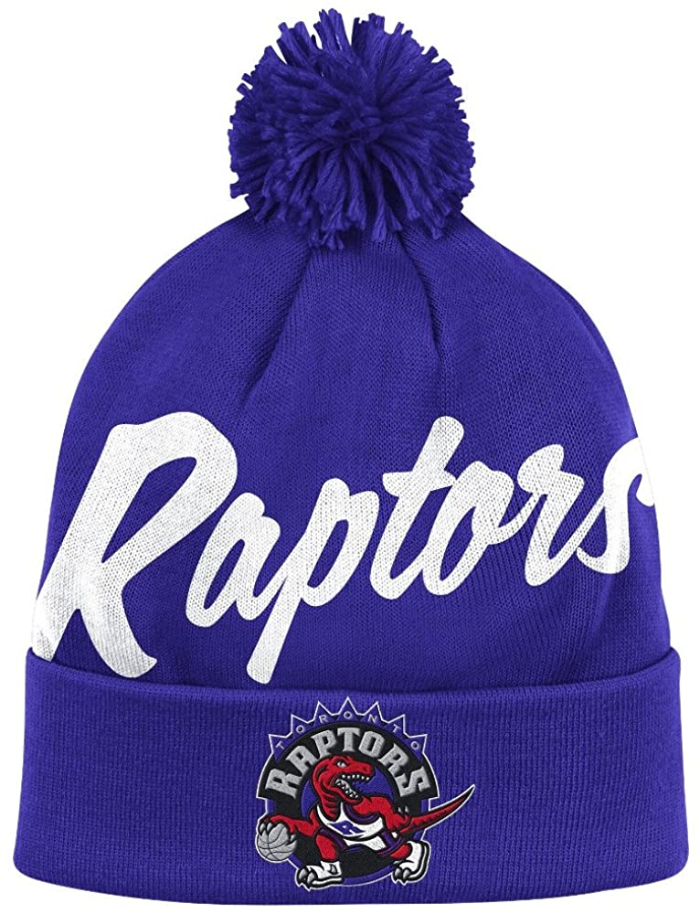 Mitchell & Ness Toronto Raptors Vintage Double Up Cuffed Pom Knit Beanie Hat/Cap