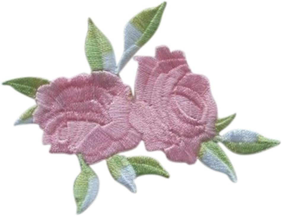1 Pcs Rose Flower Leaves Embroidery iron On Applique Patch by UBOOMS
