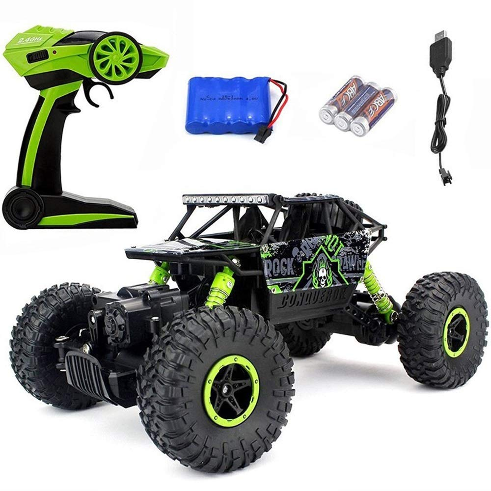 Ycco 1:18 4WD Buggy 25km/h High Speed 2.4 GHz All-Terrain Remote Control Wild Climbing Trucks, Hobby Grade RTR Electric Remote Controlled Off-Road Car Boy Girl Toy RC Double Motor Drift Car Green