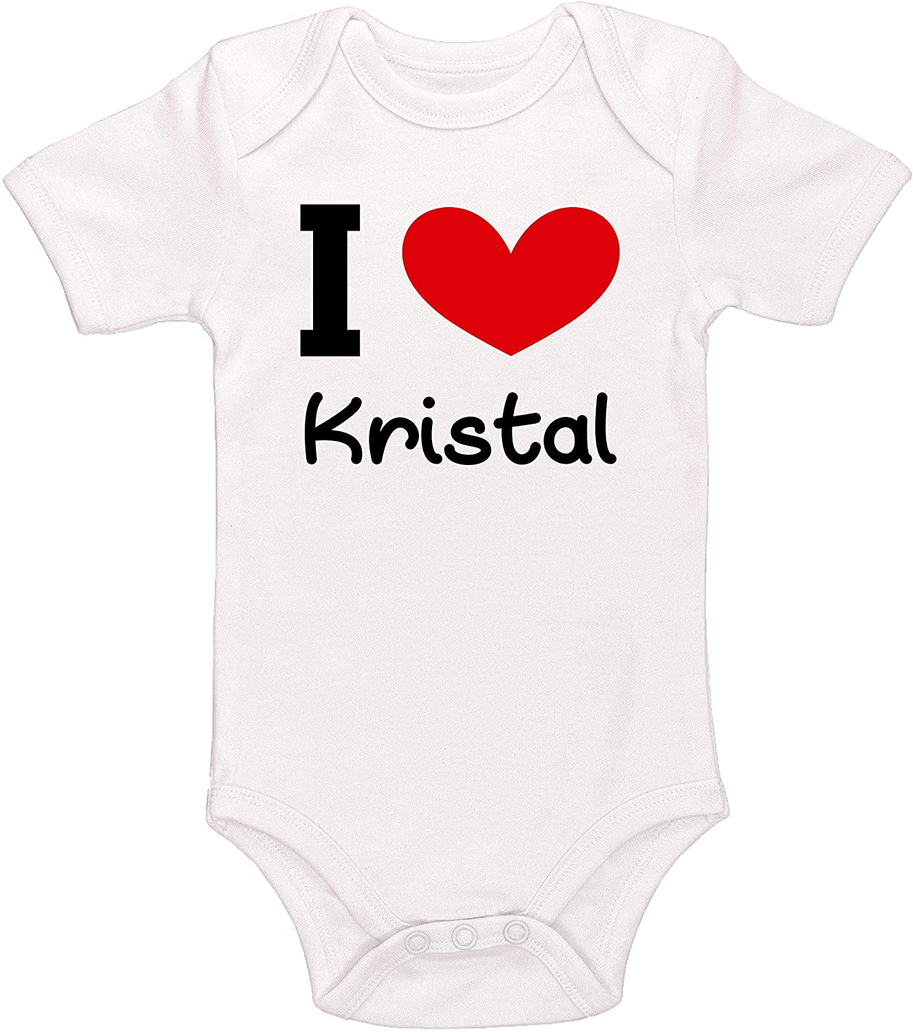 Kinacle I Love Kristal Personalized Baby Bodysuit
