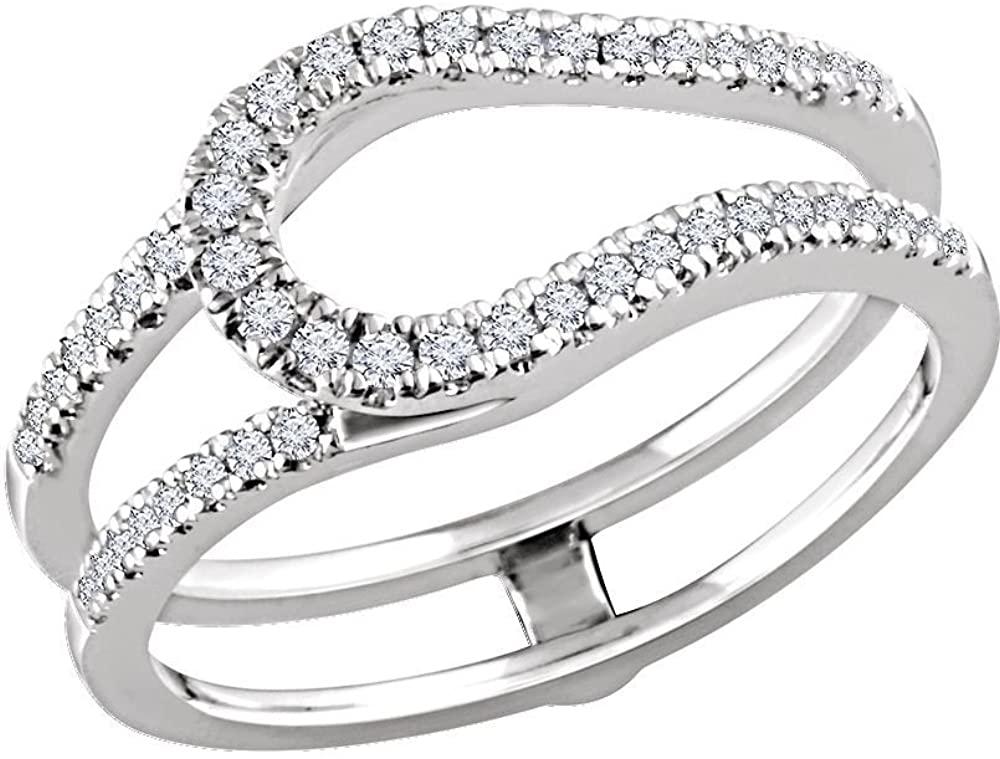 14k White Gold 1/3 ctw. Diamond Ring Guard, Size 7