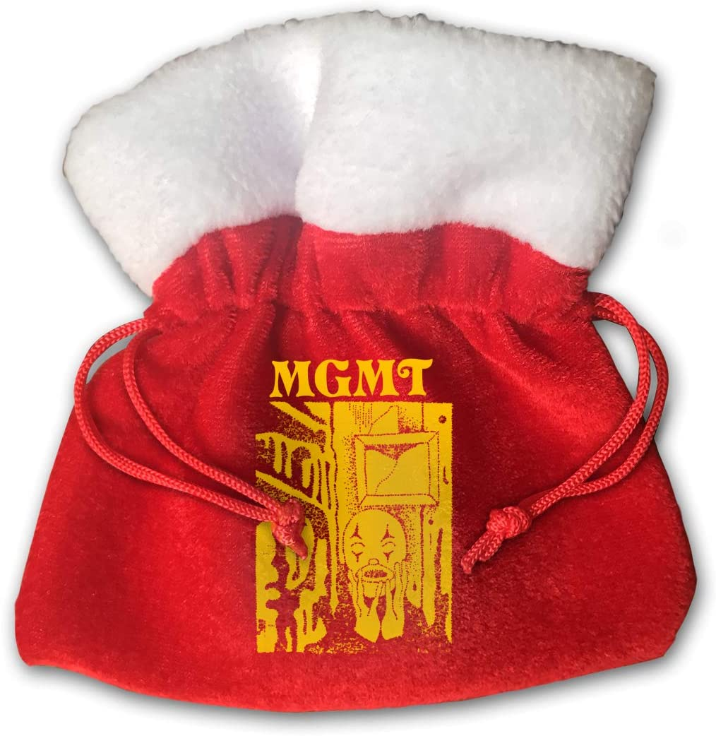 MGMT Little Dark Age Merry Christmas Gift Bags Small Drawstring Candy Bags Treat Pouch Decor Packs Holiday Velvet Santa Sack For Xmas Ornaments Party Decorations 5.9x5.9inch