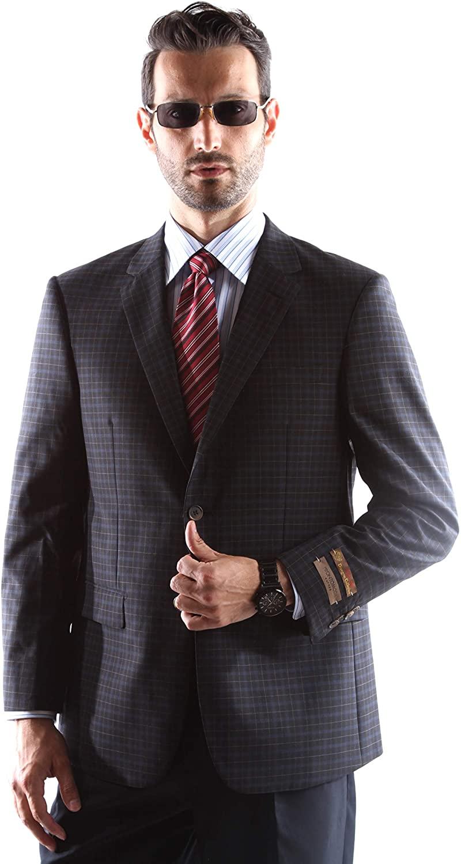 Prontomoda Mens 2 Button Luxury 100% Wool Black Sport Coat Size 40L