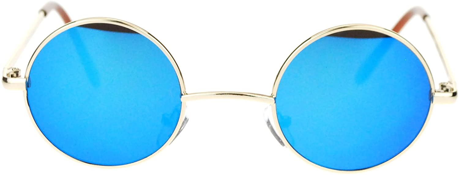 Retro Extra Small Round Circle mirrored Lens 70s Groovy Hippie Sunglasses