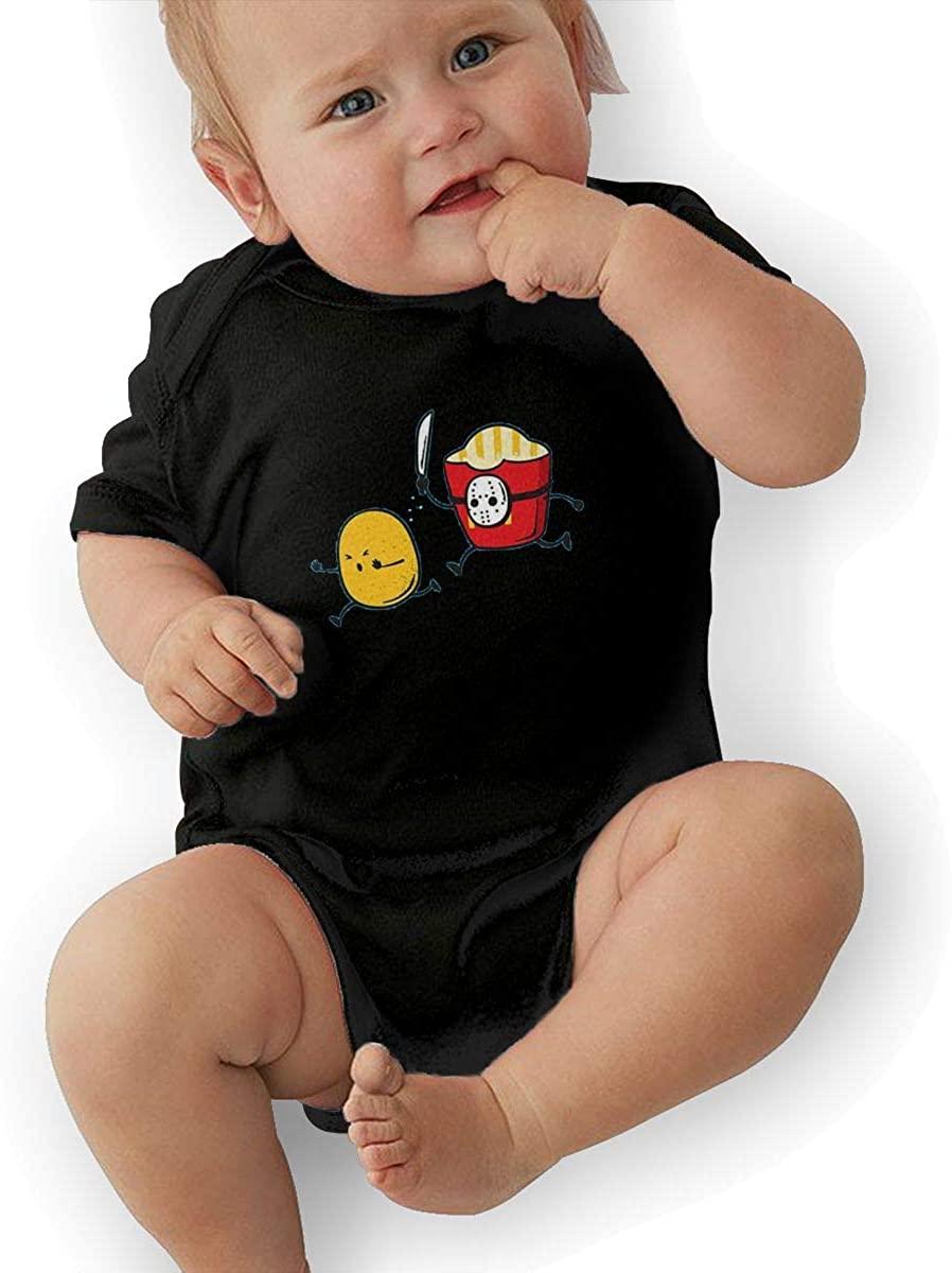 Manlee Make Potato Chips Newborn Infant Toddler Baby Girls Boys Bodysuit Short Sleeve 0-24 MonthsBlack 18M