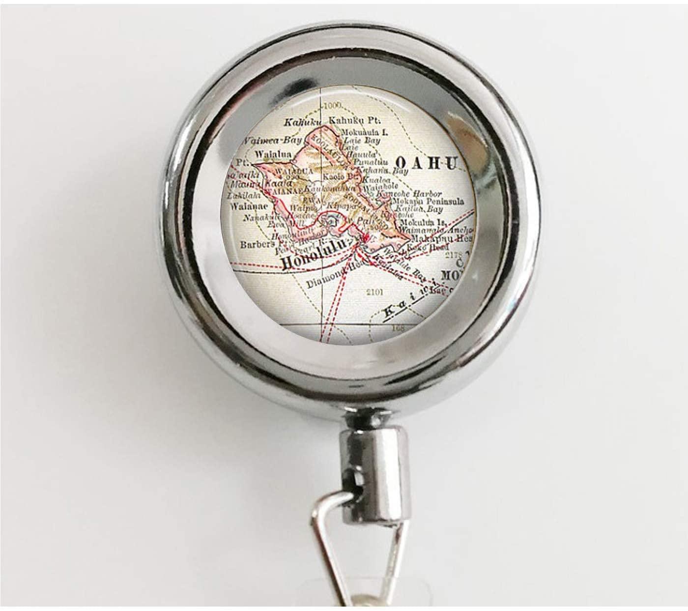 Oahu, Hawaii Vintage Map Jewelry - Keychain - Compass Charm - Hawaiian Islands Retractable Badge Reel with Waterproof ID Holders & Keychain