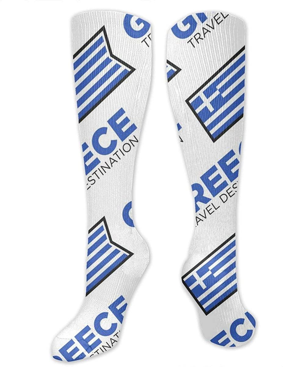Men Women Knee High Socks Greece Greek National Flag Cycling Hose Stockings