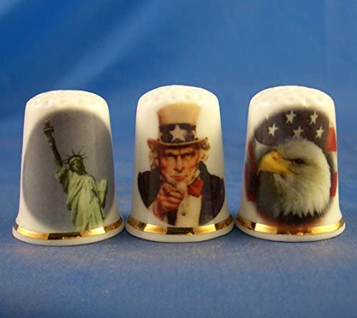 Porcelain China Collectable Thimbles - Set of Three America the Beautiful