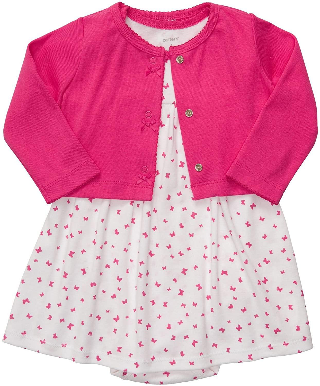 Carters Baby Girls 2 Pc Dress Set - Pink Butterfly - Newborn