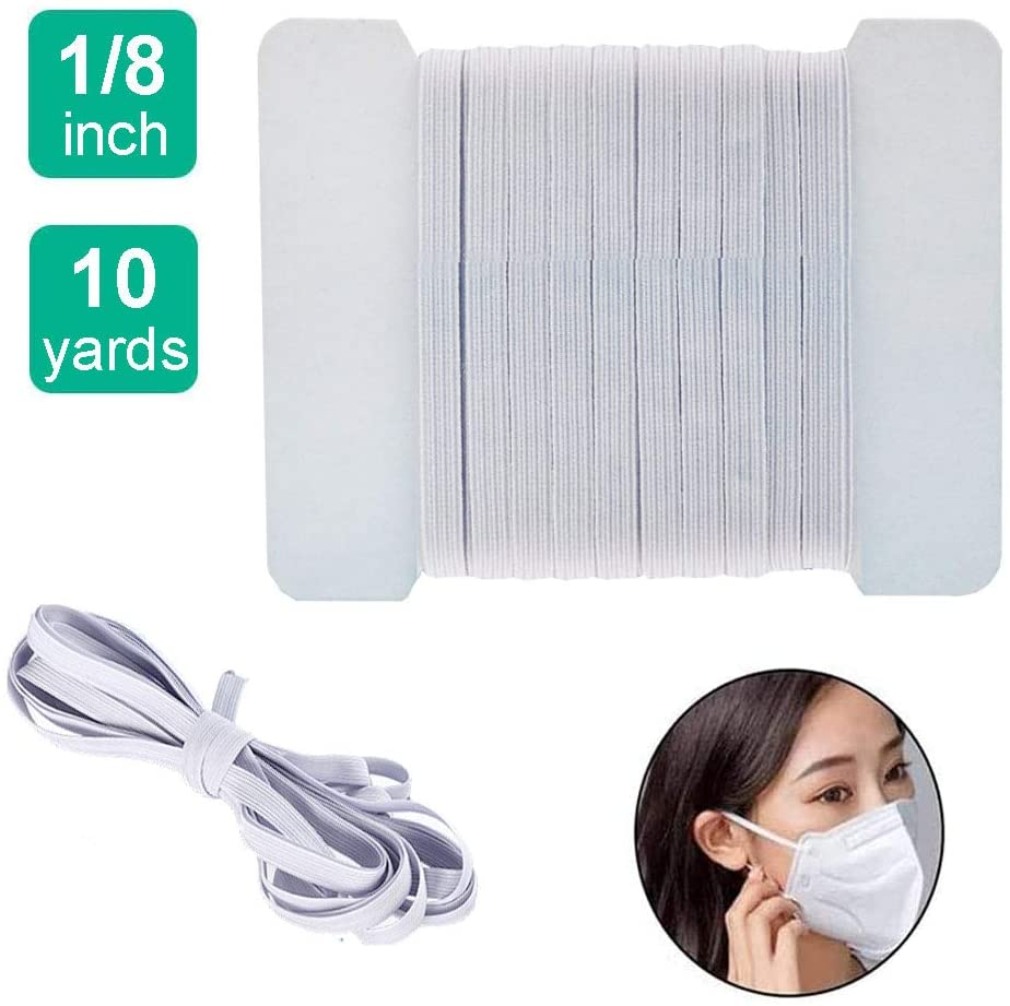 1/8 inch Braided Elastic Cord 10 Yards Flat Elastic Bands Stretch Rope 3mm Wide for Sewing Crafts DIY Mask String, White