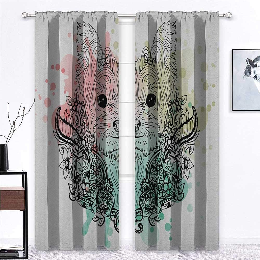 shirlyhome Weatherproof Outdoor Curtains Yorkie for Living/Bedroom Room Patio Door Sketch of a Cute Yorkshire Terrier on a Bed of Flowers Black and White Drawing Art 72 x 84 Black White 2 Panels