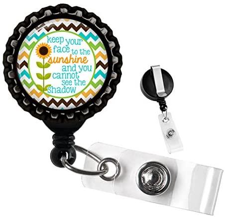 Sunflowers Sunshine Black Retractable Badge Reel ID Tag Holder by Geek Badges