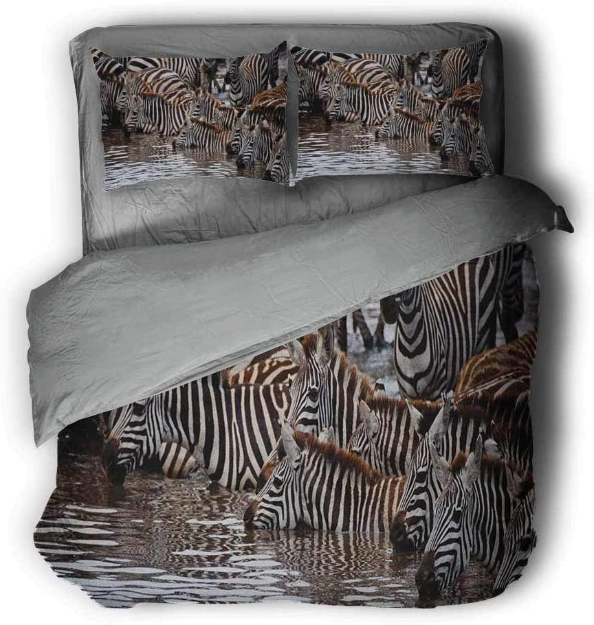 Luoiaax Wildlife Extra Large Quilt Cover Herd of Zebras and Wildebeest Drinking Water in Serengeti Tanzania Picture Can be Used as a Quilt Cover-Lightweight (Twin) Brown Black White
