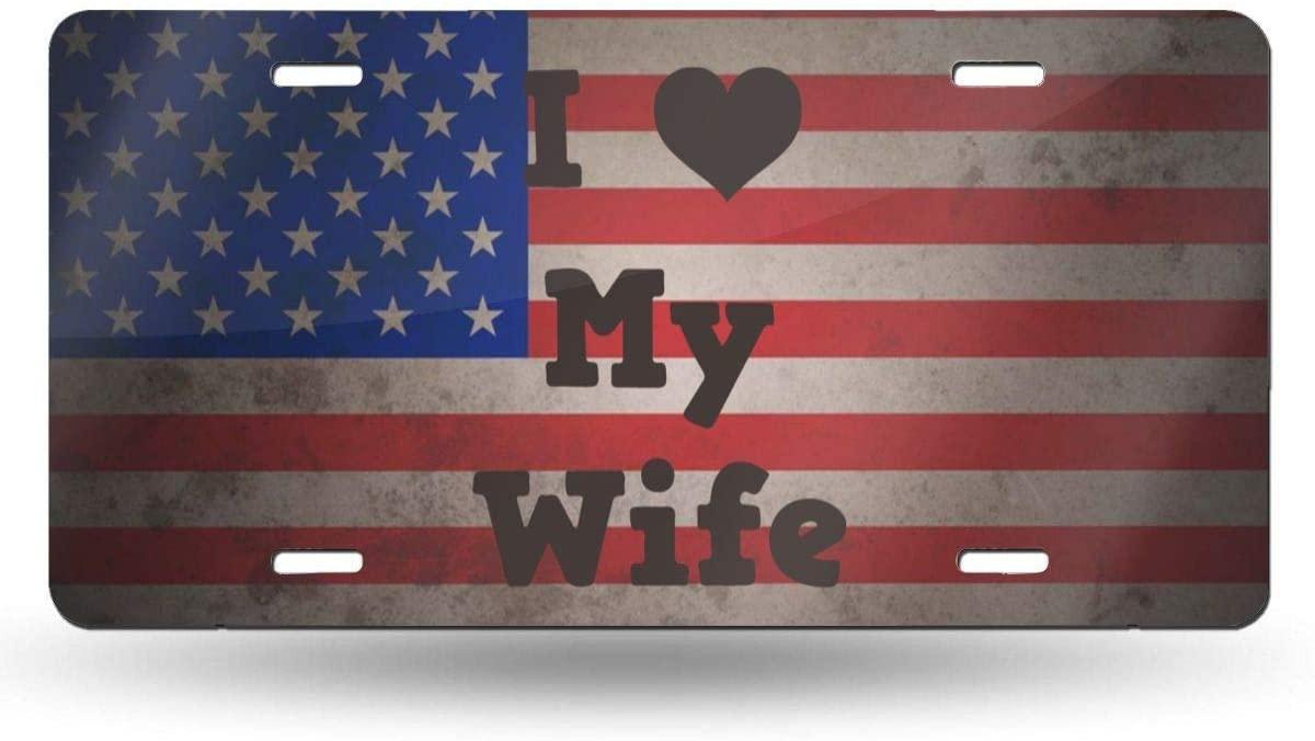 Fairyshop I Love My Wife License Plate Metal Aluminum Decorative Car Front UAS Flag License Plate Tag