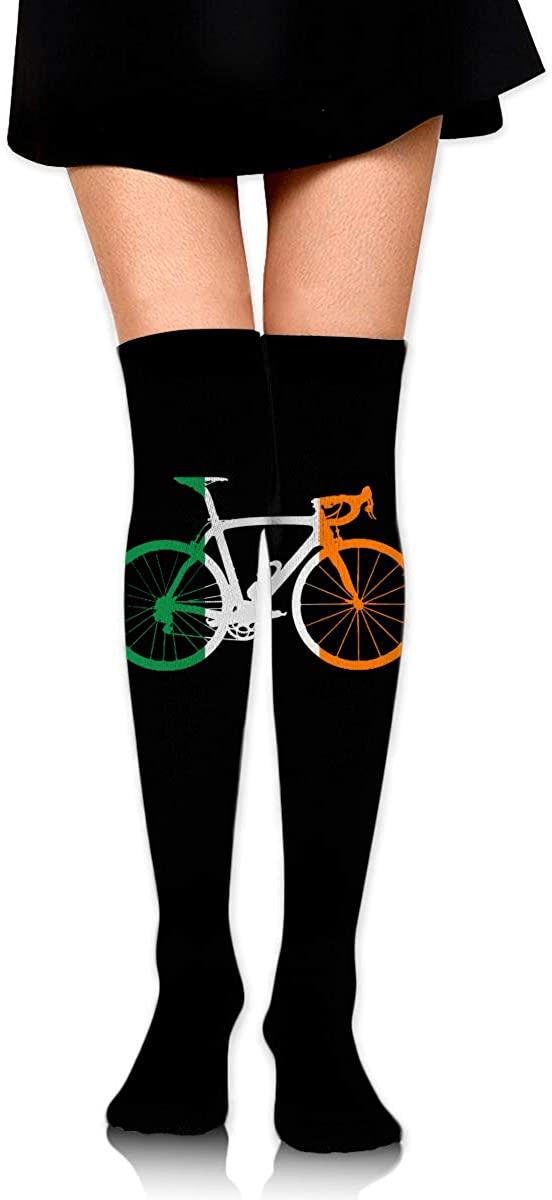 Knee High Socks Bike Flag Ireland Womens Athletic Over Thigh Long Stockings